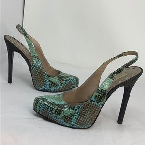 Rachel Roy Sz 8 Green Teal Snake Embossed Heels